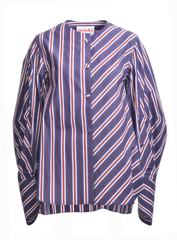 Young British Designers: Navy Blue and Burgundy Striped Shirt - last one by MINKI LONDON