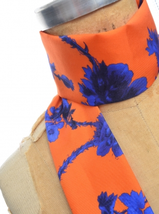 Young British Designers: GRACE SKINNY SCARF in GOTHIC FLORAL TOMATO by Klements