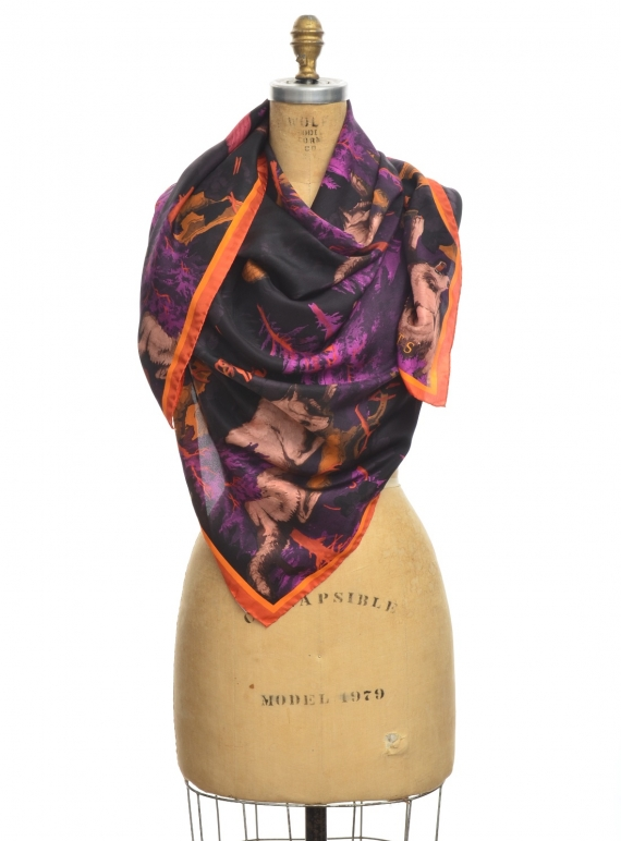Young British Designers: GIANT SQUARE SCARF in Bialowieza Print by Klements
