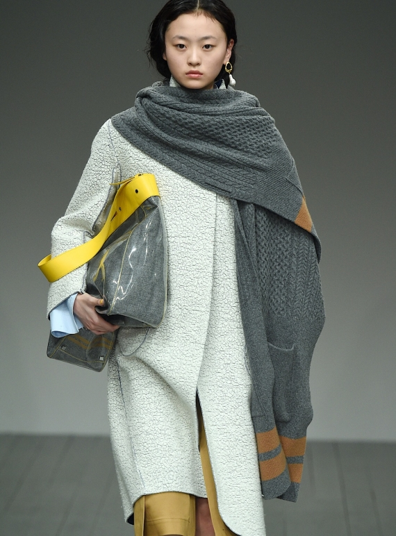 Young British Designers: TREVOR Knit Cape in Grey/Camel - last one by Eudon Choi