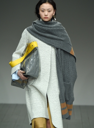 TREVOR Knit Cape in Grey/Camel - last one by Eudon Choi