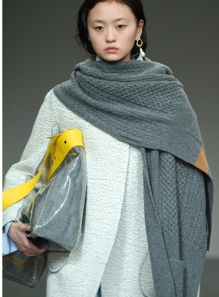 Young British Designers: TREVOR Knit Cape in Grey/Camel by Eudon Choi