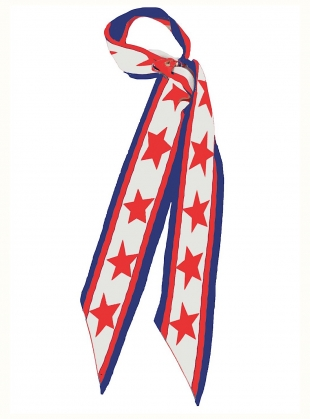 Young British Designers: AMERICANA CLASSIC SKINNY BLUE SCARF by Rockins