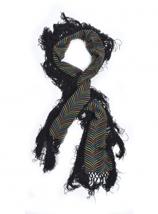 SILK LINED VELVET FRINGED BAKEWELL SCARF by Rockins