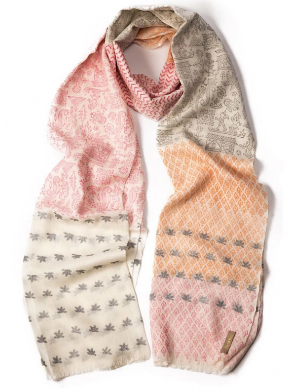 Young British Designers: Cashmere Scarf in Warli Pink - Last one by Beshlie McKelvie