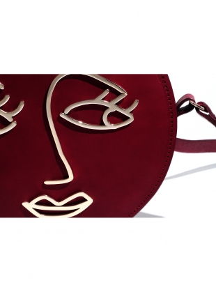 Young British Designers: LOVE Circle Bag in Burgundy Leather - Sold out by Paradise Row