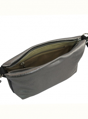 Young British Designers: ZIP TOP LEO BAG in Gunmetal by Kate Sheridan