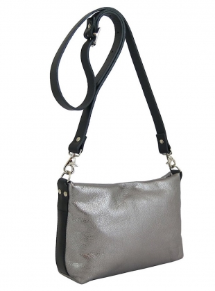 ZIP TOP LEO BAG in Gunmetal by Kate Sheridan
