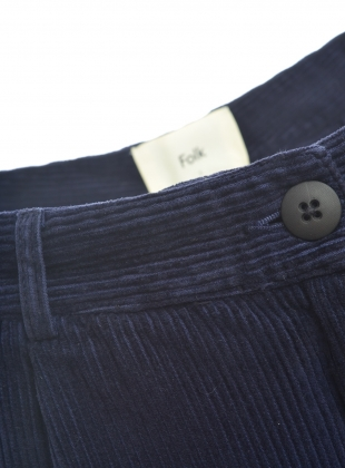 Young British Designers: LONG Wide Cords in Navy by Folk