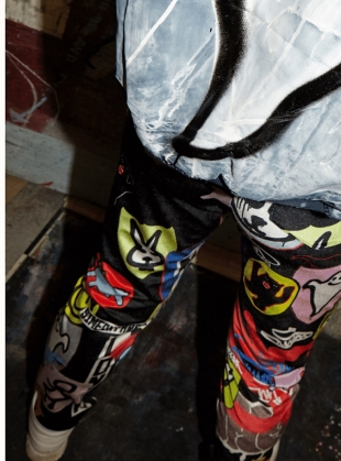 Young British Designers: VELVET PATCH WALL TROUSERS by Simeon Farrar
