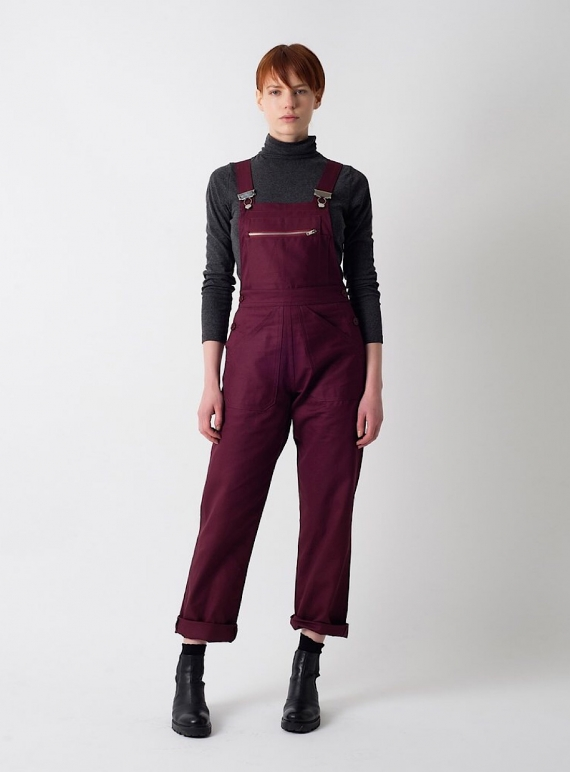 Young British Designers: Plum Cotton Drill DUNGAREES - last pair by Kate Sheridan