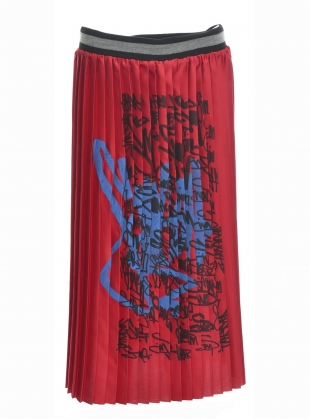Young British Designers: RED PLEAT SCRAWL SKIRT - Last one by Simeon Farrar