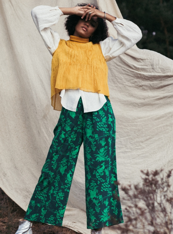 Young British Designers: PLUTO PANTS in Garden Puppets (Forest) - last pair (S) by Klements