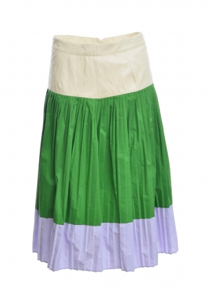 Green Faux Leather & Cotton Pleat Skirt by Moon Lee Artwear