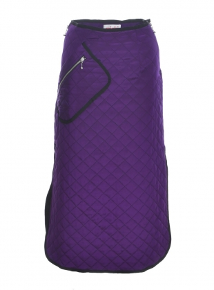 Purple Silk Quilted Midi Skirt by MINKI LONDON