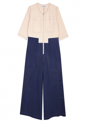 Young British Designers: FELLINI Boilersuit in Ivory/Navy - Sold out by LF Markey