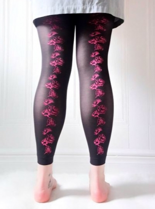 Neon Rose Hand-Printed Footless Tights by hose.