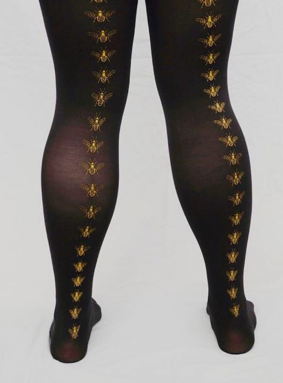 Young British Designers: Black with Mustard Bee Hand-Printed Tights by hose.