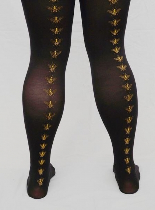 Black with Mustard Bee Hand-Printed Tights by hose.