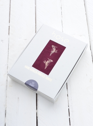 Claret with Copper Woodpecker Hand-Printed Tights by hose.