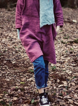 Young British Designers: Softened Linen Reversible Dress in Wine - Last one by Lemuel MC