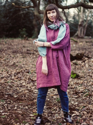 Young British Designers: Softened Linen Reversible Dress in Pastel Wine by Lemuel MC