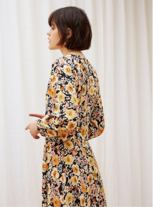 Young British Designers: FIELD OF FLOWERS Dress in Silk Satin  by Kelly Love