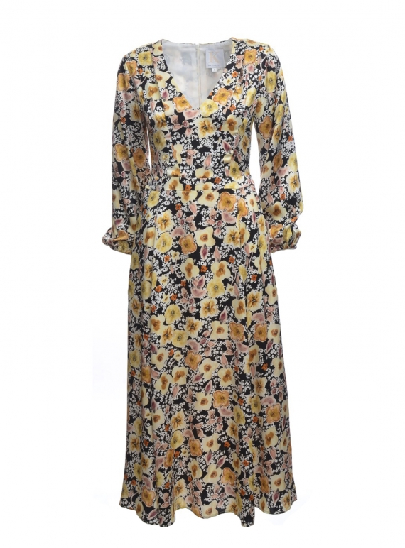 Young British Designers: FIELD OF FLOWERS Dress in Silk Satin - last one (12) by Kelly Love
