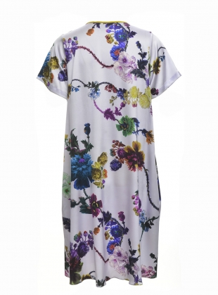 Young British Designers: FREIDA DRESS in Gothic Floral (Iced Lilac) - last one (XS) by Klements