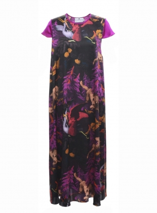 LONG FREIDA DRESS in BIALOWIEZA PRINT by Klements