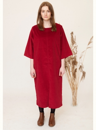 DEBORAH Organic Cotton Cord Midi Dress in Red by Beaumont Organic