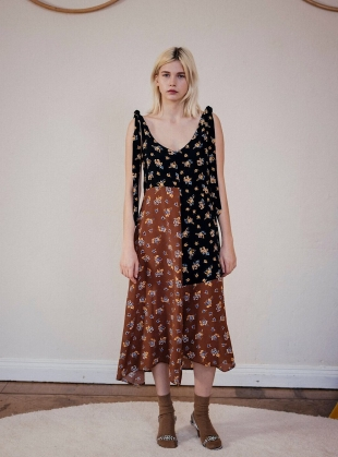 PARIS SILK PRINT MIDI DRESS by Belize