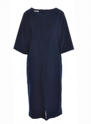 DEBORAH Organic Cotton Cord Dress in Navy by Beaumont Organic
