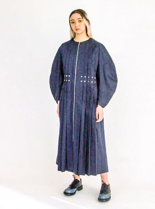Melody Blue Pleated Shirt Dress by MINKI LONDON