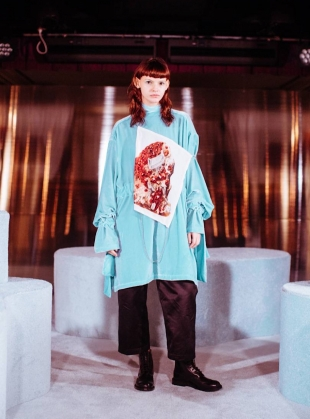 Young British Designers: Niamh Aqua Silk Velvet Dress by MINKI LONDON