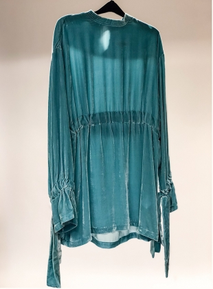Niamh Aqua Silk Velvet Dress  by MINKI LONDON