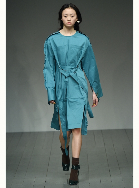 Young British Designers: HEPWORTH Dress in Teal Cotton by Eudon Choi