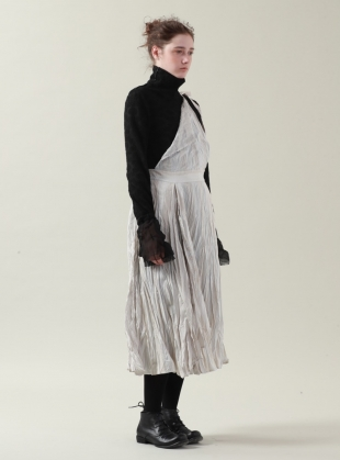 Young British Designers: Silver White Ramie Apron Dress- sold out by Renli Su