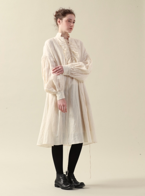 Young British Designers: Ecru Tie-Bodice Dress - Sold out by Renli Su