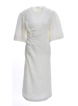Cream Textured and Ruched Irish Linen Dress by Natalie B Coleman