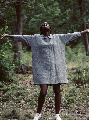 Softened Linen Reversible Dress in Grey Marl by Lemuel MC  by Lemuel MC