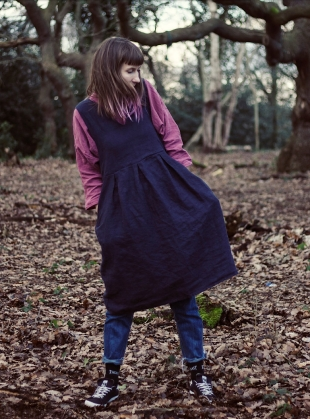 Softened Linen Navy Pinafore Dress  by Lemuel MC