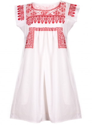 Gypsy Nomad Dress: White with Red by Beshlie McKelvie