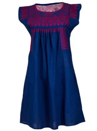 Gypsy Nomad Dress: Blue with Red by Beshlie McKelvie
