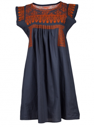 Gypsy Nomad Dress: Grey with Orange by Beshlie McKelvie