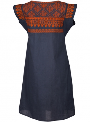 Young British Designers: Gypsy Nomad Dress: Grey with Orange by Beshlie McKelvie