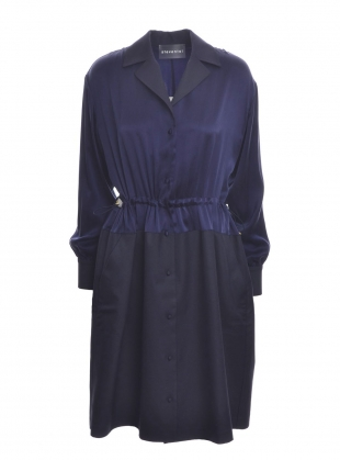 PJ Drawstring Navy Silk Shirt Dress by Steven Tai