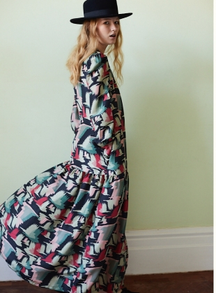 Jessie Button Down Gown in Birds Fly Print - Last one by Tallulah & Hope