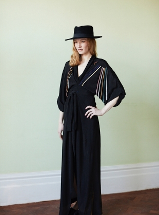 Gloria Kimono Dress in Black Sunray Print - Sold out by Tallulah & Hope