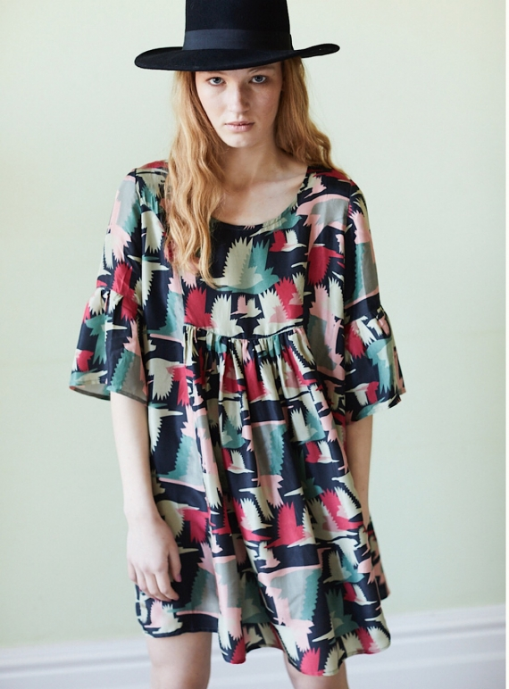 Fifi Smock Dress in Birds Fly Print - Last one by Tallulah & Hope